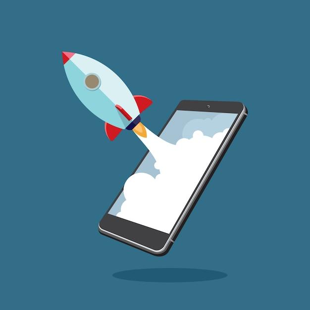 Start-up-unternehmen mit smartphone Premium Vektoren