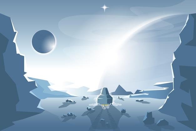 Starte ein shuttle von einem unbekannten planeten Premium Vektoren