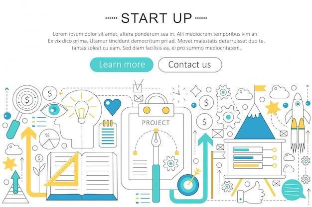 Starten sie das business-line-line-konzept Premium Vektoren