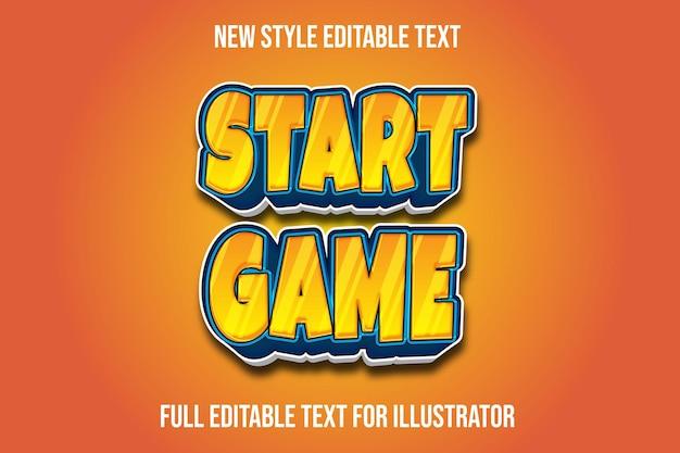 Starten sie das spiel des texteffekts 3d im orange und blauen farbverlauf Premium Vektoren
