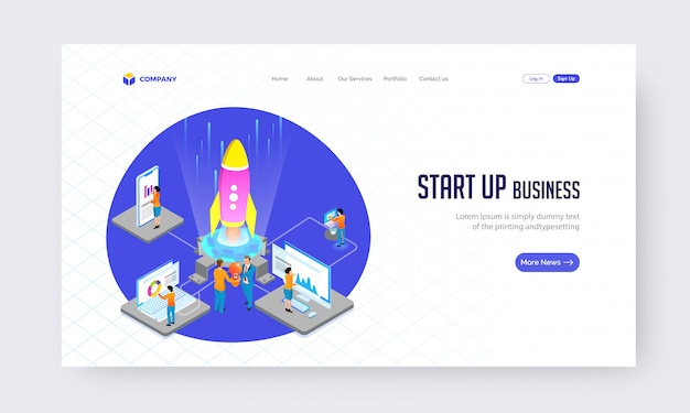Starten sie die business-konzept-website oder das landing-page-design. Premium Vektoren