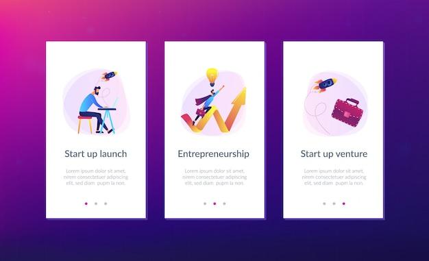 Starten sie die vorlage zum starten der app-oberfläche Premium Vektoren