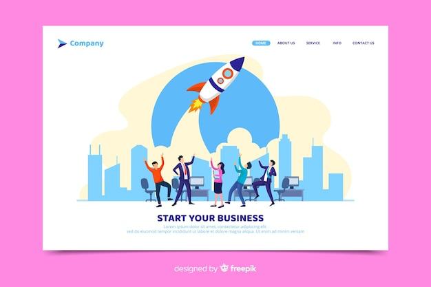 Starten sie ihre startup-landingpage Kostenlosen Vektoren