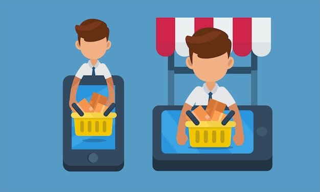 Starten sie kleinunternehmen, online-shopping-konzept auf dem handy. illustration Premium Vektoren