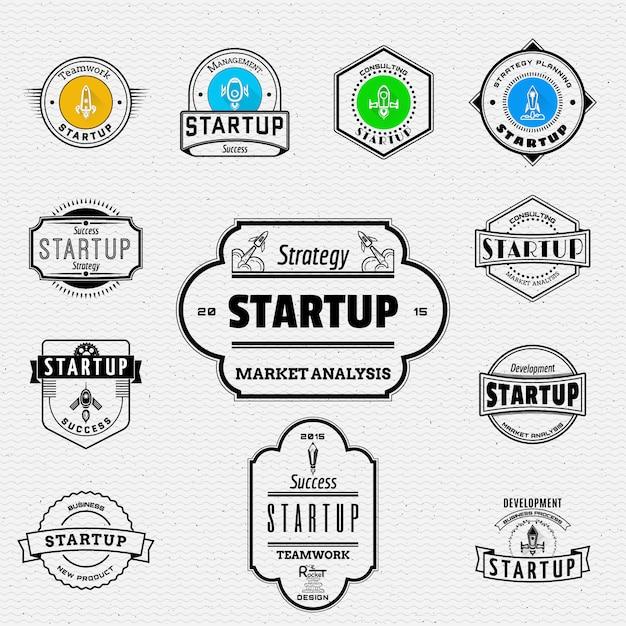 Startet logos und labels für jegliche verwendung. Premium Vektoren