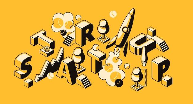 Startgeschäftsillustration der raketen- oder projekteinführung. Kostenlosen Vektoren