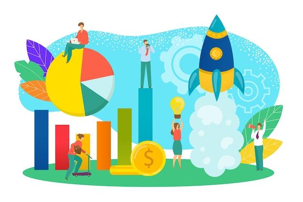 Startkonzept der illustration eines neuen geschäftsprojekts. start-up-entwicklung und einführung eines neuen innovationsprodukts. neue technologieidee, innovation. kreativer start mit raketensymbol. Premium Vektoren