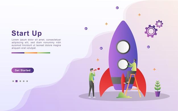 Startkonzept. startprozess, idee durch planung und strategie, zeitmanagement. Premium Vektoren