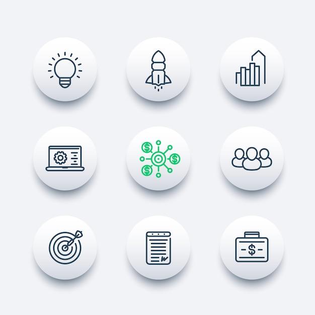 Startlinie icons set, produkteinführung, entwicklung, finanzierung, startkapital, vertrag, zielmarkt, kunden Premium Vektoren