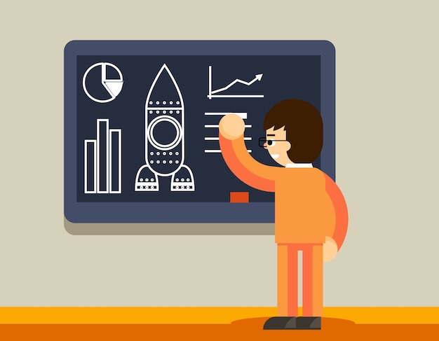 Startplan an der tafel. mann erstellen geschäftsplan, innovationsentwicklung Kostenlosen Vektoren