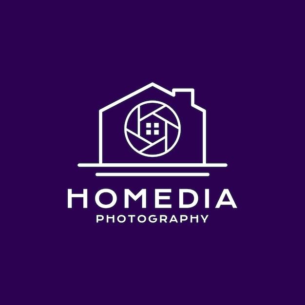 Startseite fotografie logo linienart Premium Vektoren