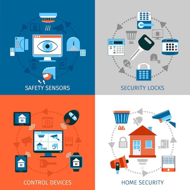Startseite sicherheitskonzept icons set Kostenlosen Vektoren