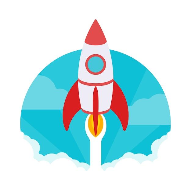 Startup-abbildung. die rakete hebt gegen den blauen himmel und die weißen rauchwolken ab Premium Vektoren