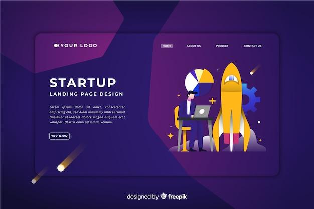 Startup-landing-page-vorlage Kostenlosen Vektoren