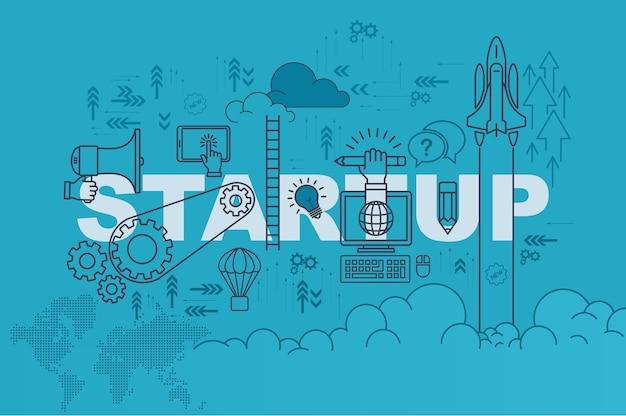 Startwebsitefahnenkonzept mit dünner linie flaches design Premium Vektoren