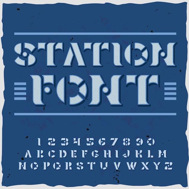 Stationshintergrund mit verzierten buchstaben und ziffern der schriftart retro-art mit schablonenplattenillustration Kostenlosen Vektoren