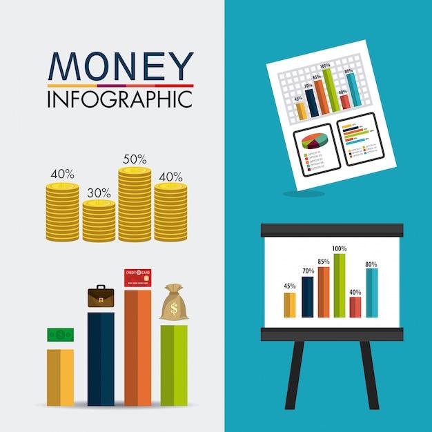 Statistik über unternehmenswachstum und geldersparnis Kostenlosen Vektoren