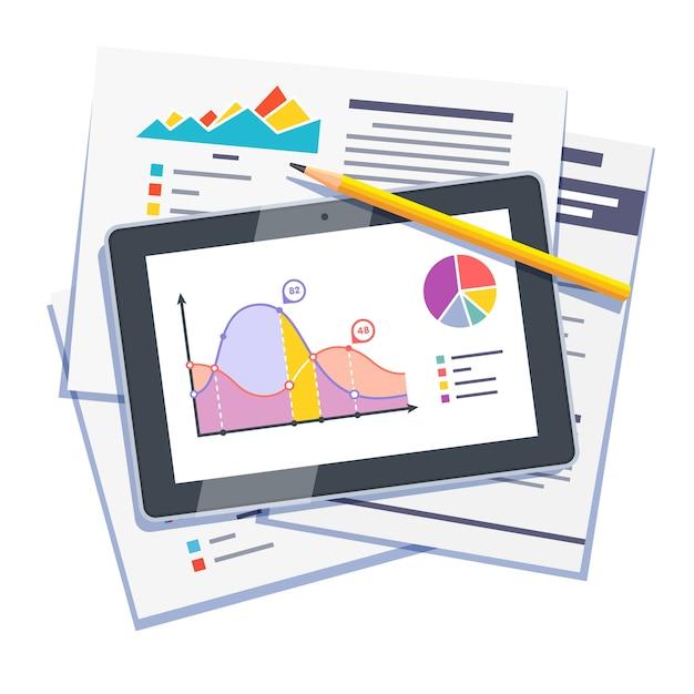 Statistische daten abstrakt auf papier und tablette Kostenlosen Vektoren