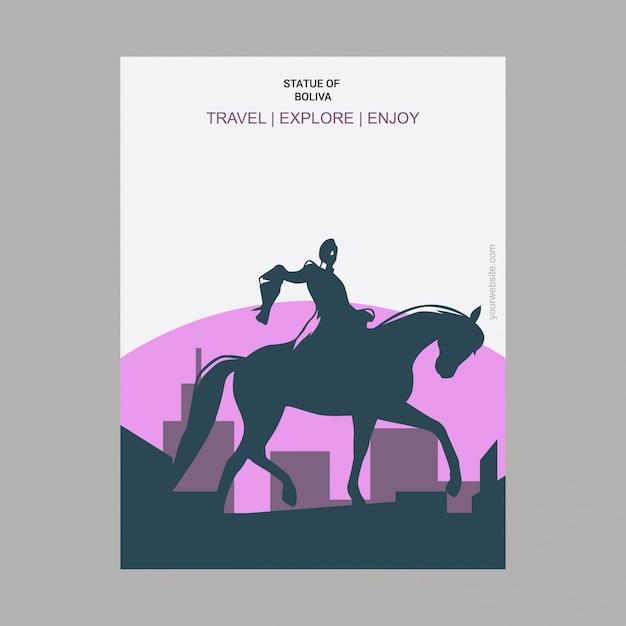 Statue von boliva new york, usa-markstein-plakat Kostenlosen Vektoren