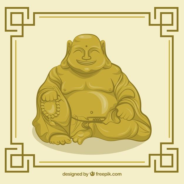 Statue von buddha-hintergrund in der flachen art Kostenlosen Vektoren