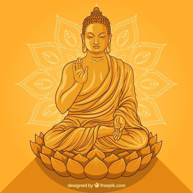 Statue von buddha in der goldenen art Kostenlosen Vektoren