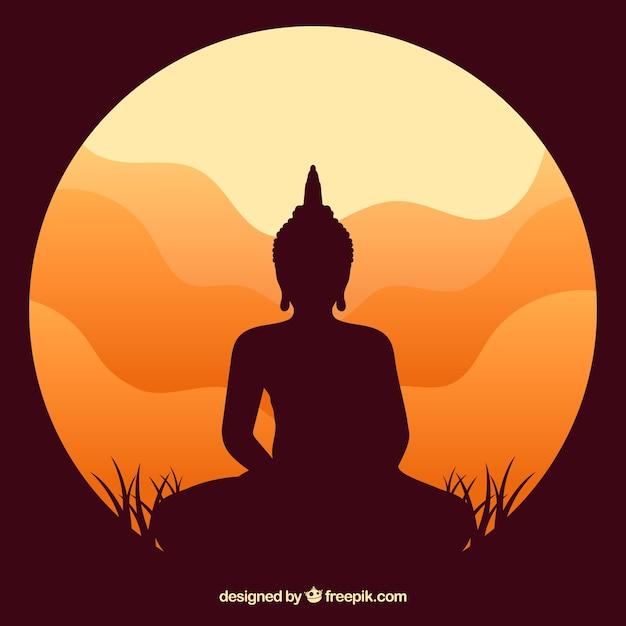 Statue von buddha-schattenbild mit sonnenuntergang Kostenlosen Vektoren