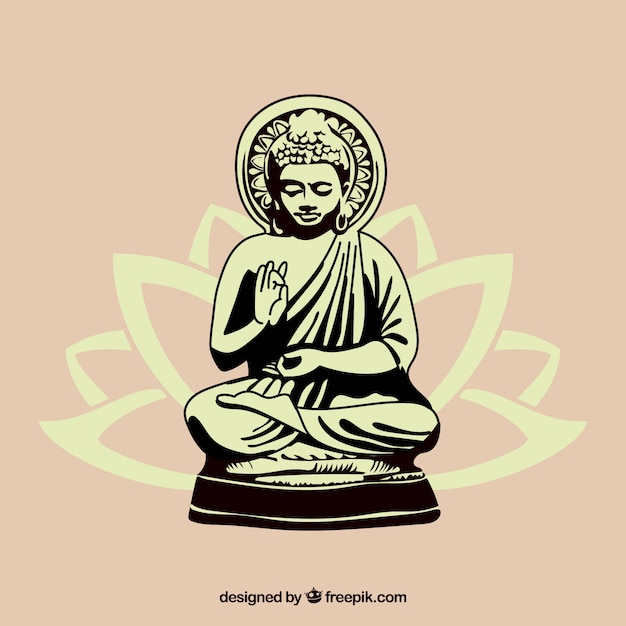 Statue von gezeichneter art buddha in der hand Kostenlosen Vektoren