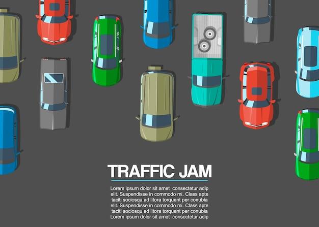 Stau und städtische transportvektorillustration. draufsicht der straße mit landstraßen viele verschiedenen autos und fahrzeuge. stadtinfrastruktur mit verkehrsstau. Premium Vektoren