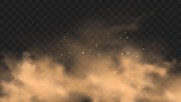 Staub sandwolke mit steinen und fliegenden staubigen partikeln auf transparentem hintergrund. Premium Vektoren