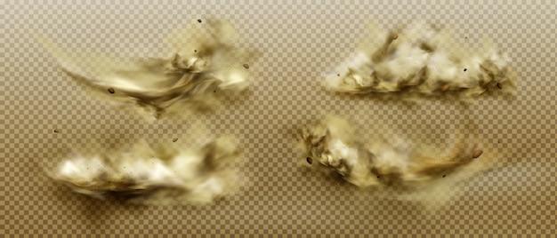 Staubwolken setzen. schmutziger brauner schwerer dicker smog Kostenlosen Vektoren