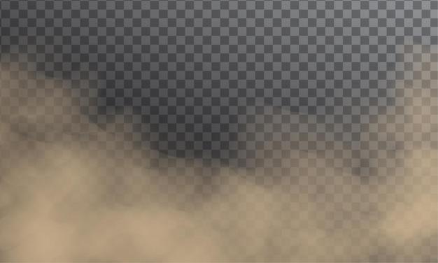 Staubwolkenverschmutzung. fliegender sand oder schmutziger rauch lokalisiert auf dunklem transparentem hintergrund Premium Vektoren