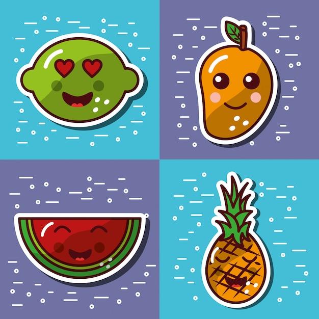 Ste von kawaii frucht glücklich schönen cartoon Premium Vektoren