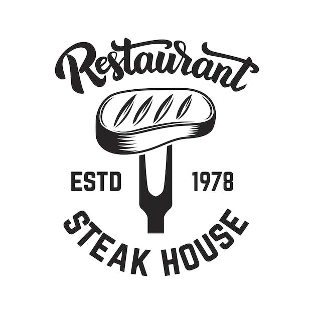 Steak-house. geschnittenes fleisch und gekreuzte fleischspalter. Premium Vektoren