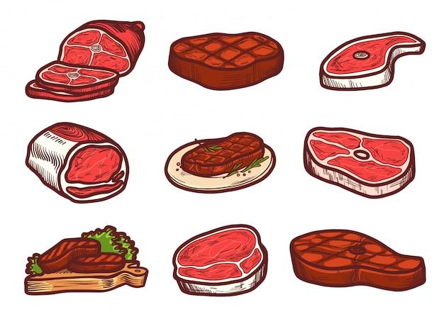 Steak-icon-set Premium Vektoren