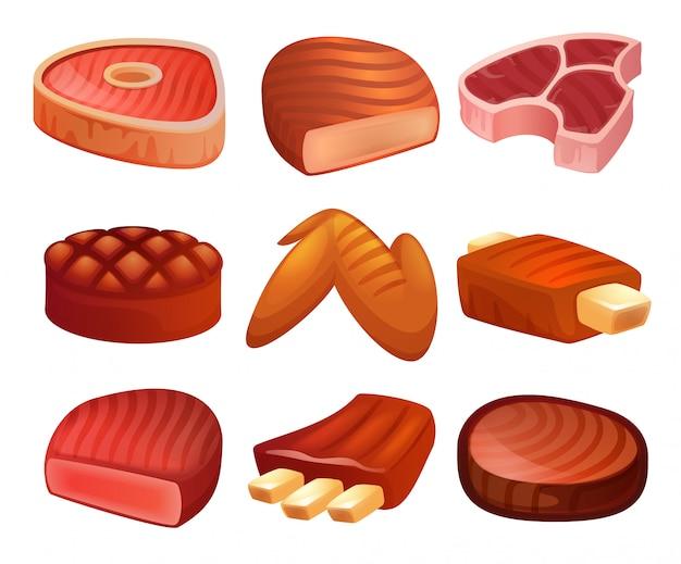 Steak icons set. karikatursatz des steakvektors Premium Vektoren