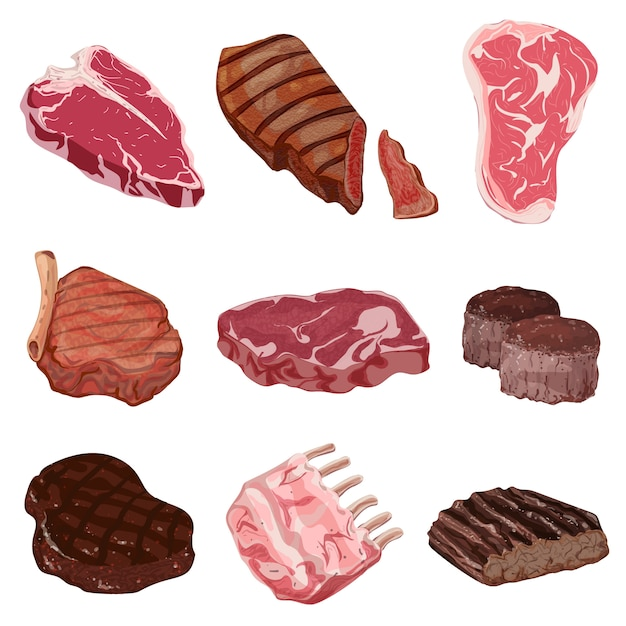 Steak icons set. karikatursatz steakikonen Premium Vektoren
