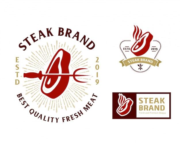Steak store logo vorlage Premium Vektoren