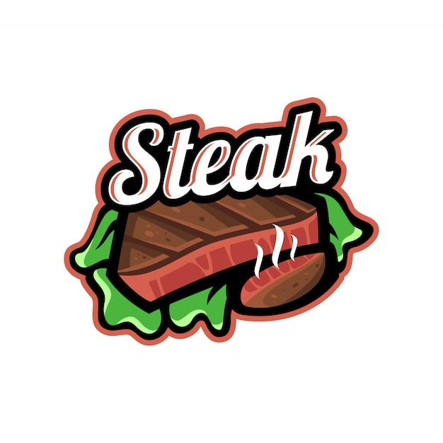 Steak-vektor-logo-vorlage Premium Vektoren