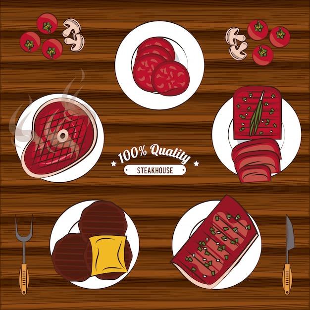 Steakhouse-bbq-embleme Premium Vektoren