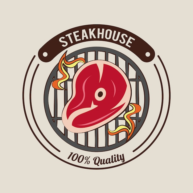 Steakhouse-grill-poster Premium Vektoren