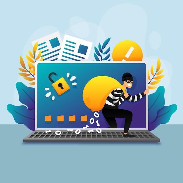 Steal data cyber attack-konzept Kostenlosen Vektoren