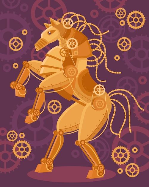 Steampunk goldener pferdenhintergrund Kostenlosen Vektoren