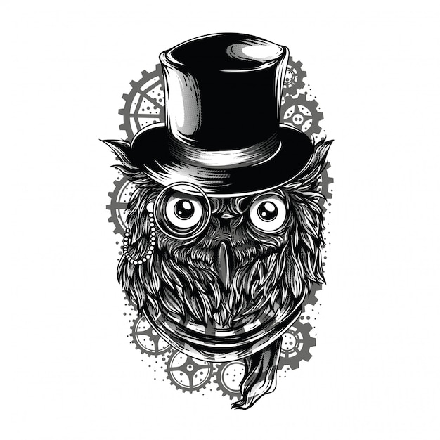 Steampunk owl black and white illustration Premium Vektoren