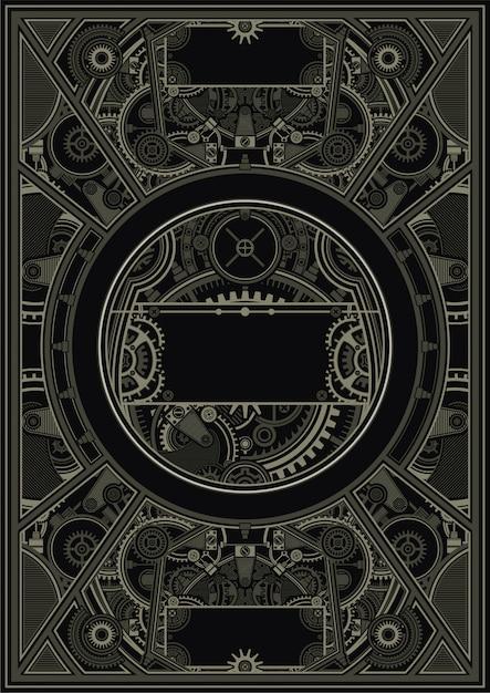 Steampunk-plakatschablonenvektor env Premium Vektoren