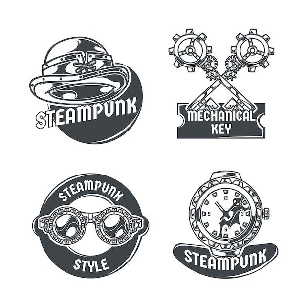 Steampunk-set mit vier isolierten emblemen, bearbeitbarem text und bildern verschiedener elemente Kostenlosen Vektoren