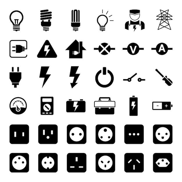 Steckdose und Strom Werkzeug Icon Set | Download der Premium Vektor