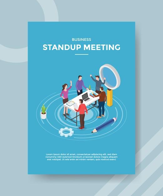 Stehen sie auf und treffen sie die teamwork-diskussion auf dem arbeitsbereich, um eine flyer-vorlage zu erhalten Kostenlosen Vektoren