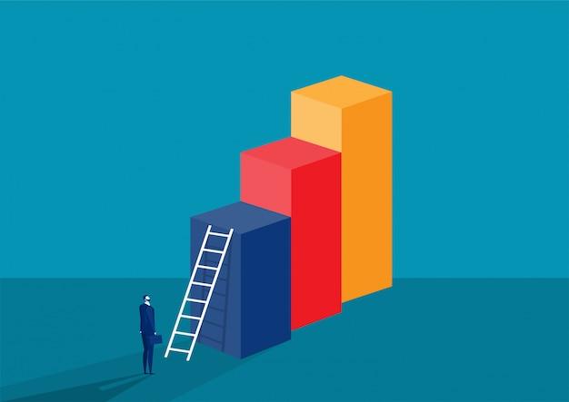 Stehender geschäftsmann schaut im balkendiagramm mit treppe für zum erfolgskonzept Premium Vektoren