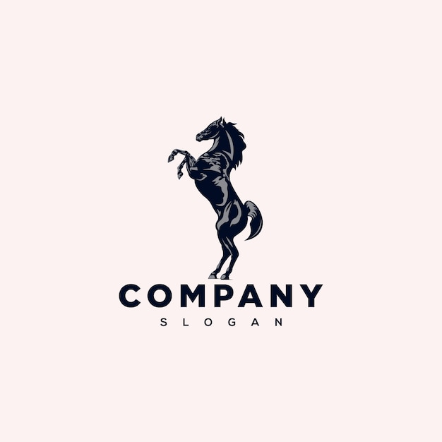 Stehendes pferd logo design Premium Vektoren