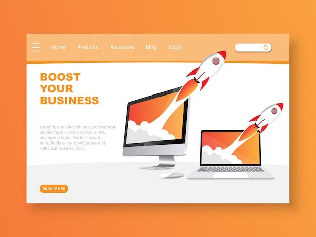 Steigern sie ihre business-landing-page-vorlage Premium Vektoren